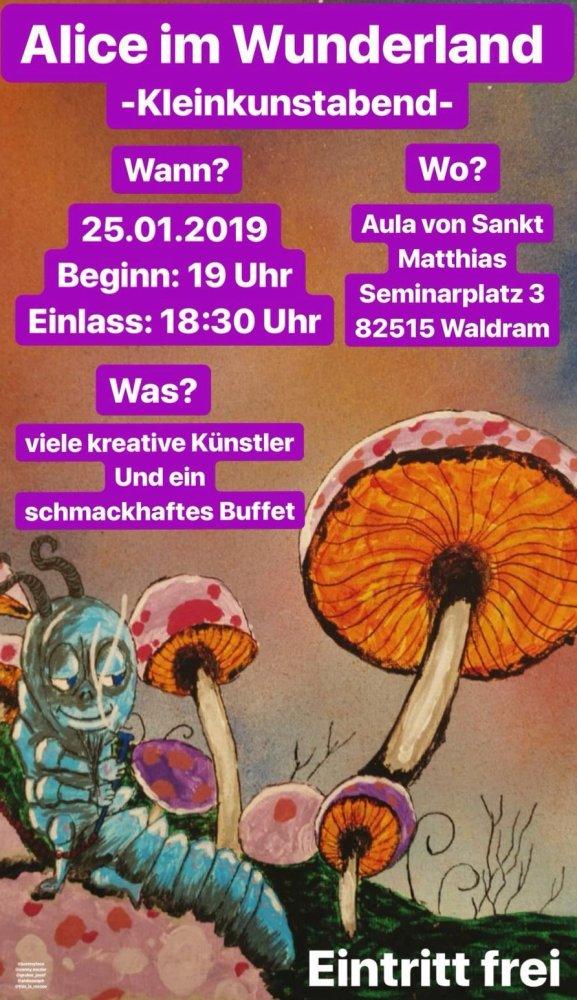 Einladung zum Kleinkunstabend (Plakat: Schlott, Graphik: Henseler)