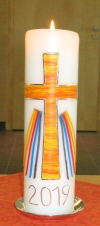 Kerze zum Fachabitur (verziert von Heidi Huber): Vorderseite