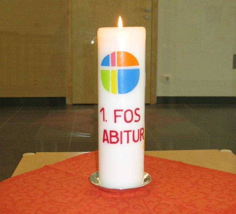 Kerze zum Fachabitur (verziert von Heidi Huber): Rückseite