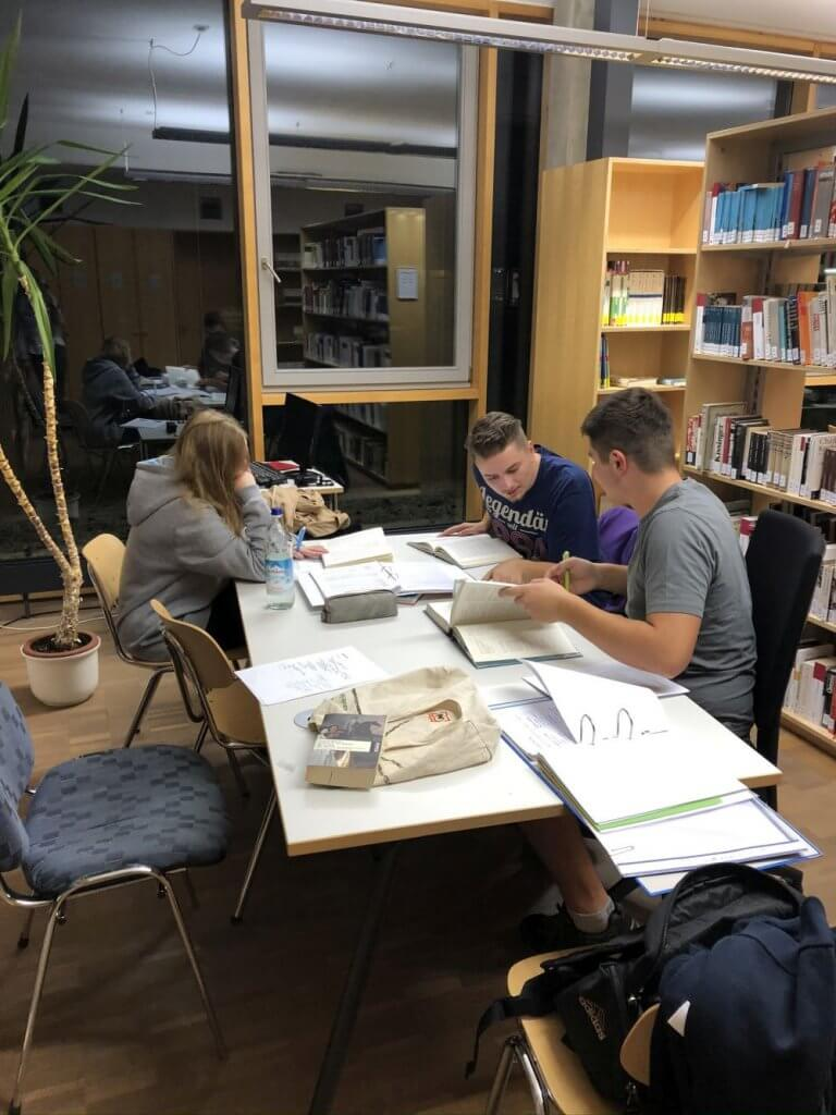 Einige waren mit der traditionellen Recherche mittels Buch in der Schulbibliothek beschäftigt. (Foto: Niehenke)