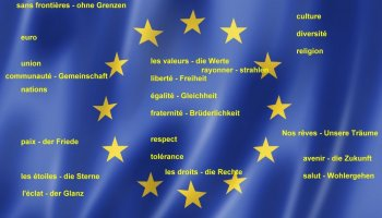 Die Europaflagge als Hintergrund für das Wortfeld
